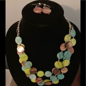 Jewelry - Colorful necklace and matching earrings